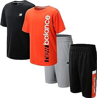 New Balance Boys' Shorts Set - 4 Piece Short Sleeve T-Shirt and Gym Shorts Activewear Set (Little Boy/Big Boy)
