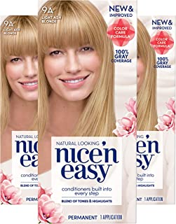 Clairol Nice'N Easy Crème 9A Light Ash Blonde (Pack of 3) (Packaging May Vary)