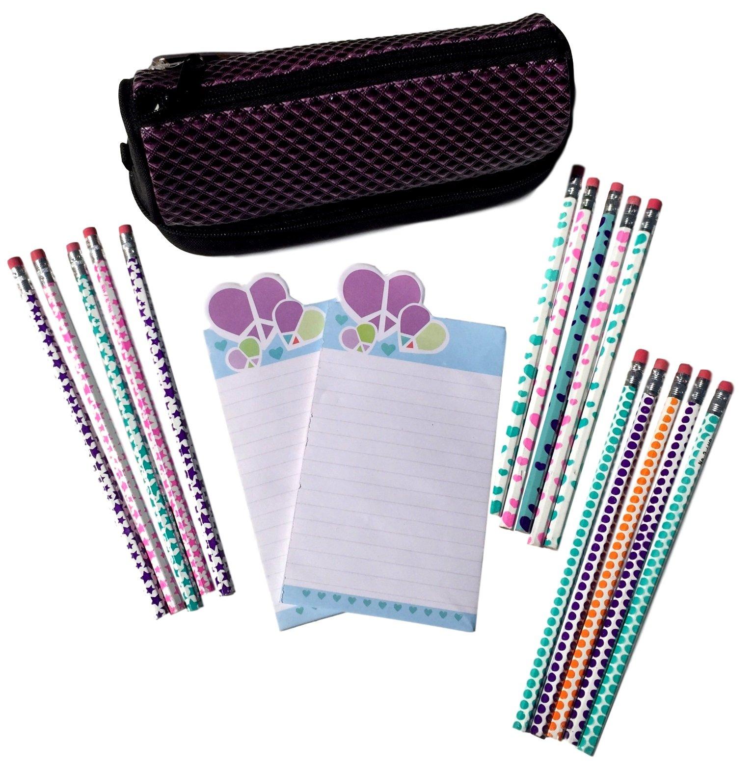 Vuelta a la escuela suministros Kit incluye un estuche morado y negro, 2 blocs de notas magnético y 3 juegos de # 2 Lápices: Amazon.es: Oficina y papelería