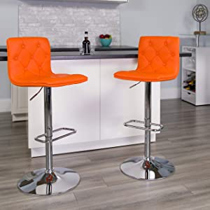 Flash Furniture 2 Pk. Contemporary Button Tufted Orange Vinyl Adjustable Height Barstool with Chrome Base