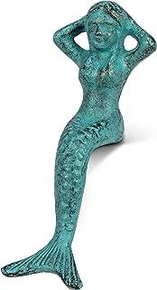 Abbott Collection 27-IRONAGE-394 Sm Sitting Mermaid-Verdigris-5