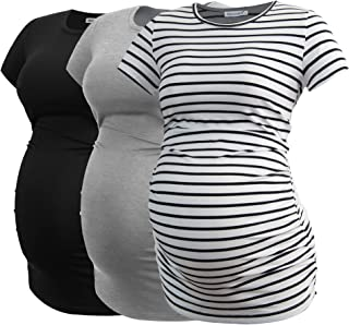 Women's Maternity Tops Side Ruched Tunic T-Shirt...