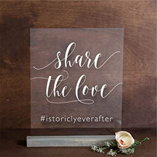 Share the Love Hashtag Sign on Acrylic: Personalized with your Wedding Hashtag clear glass look 8