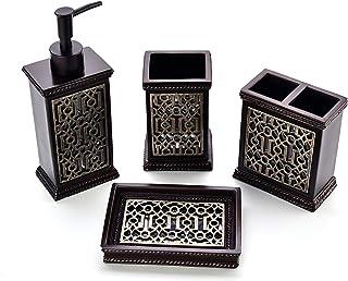 Zexzen Bathroom Accessories Set 4 Pcs, Resin Bathroom Decorative Countertop Kit with Lotion Soap Dispenser Dish Toothbrush Holder Tumbler Brown