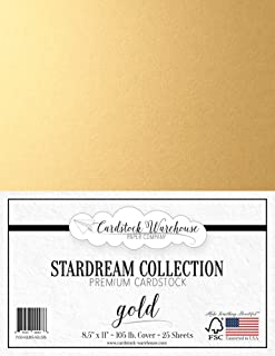 Gold Stardream Metallic Cardstock Paper - 8.5 X 11 inch - 105 lb. / 284 GSM Cover - 25 Sheets from Cardstock Warehouse