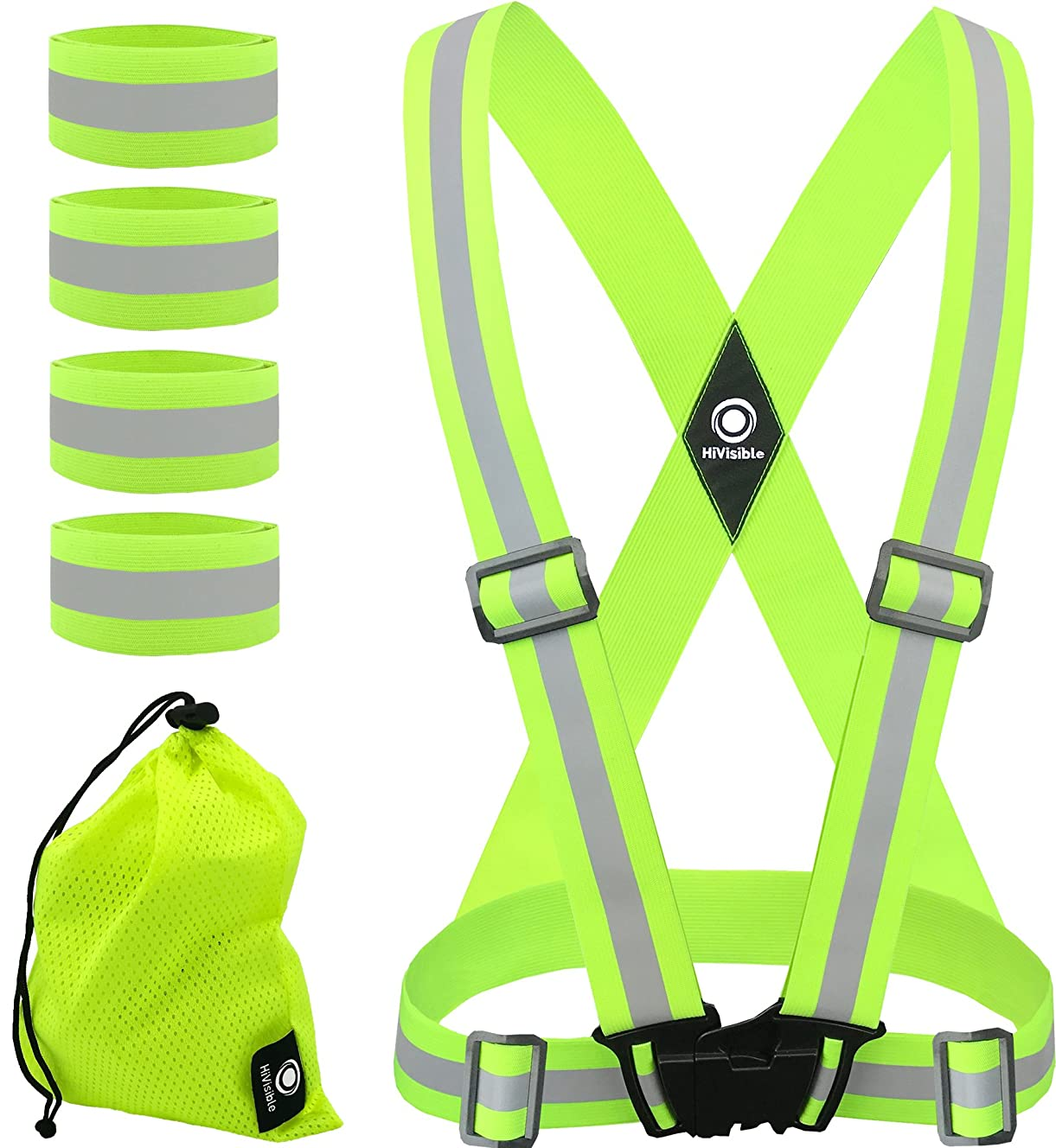 HiVisible Reflective Vest + 4 Reflective Bands - Reflective Running Gear for Men and Women for Night Running, Biking, Walking. Reflective Running Vest, Safety Straps, Reflector Strips