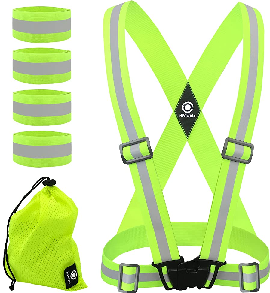 HiVisible Reflective Vest + 4 Reflective Bands - Reflective Running Gear for Men and Women for Night Running, Biking, Walking. Reflective Running Vest, Safety Straps, Reflector Strips x07322996738444