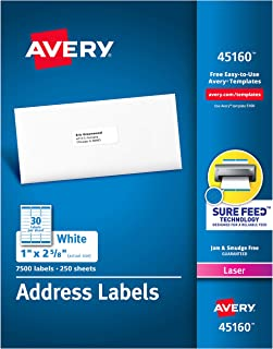 """Avery Address Labels with Sure Feed for Laser Printers, 1"""" x 2-5/8"""", 7,500 Labels � Great for FBA Labels (45160)"""