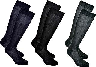LANCETTI 6 o 12 Paia di Calze Uomo Lunghe in Cotone Pregiato Filo di Scozia - Made in Italy Disponibili in Blu, Nero e Grigio