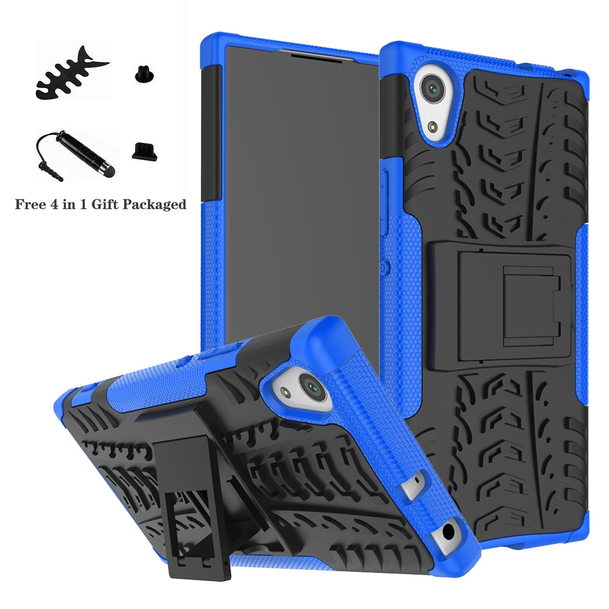 LiuShan Sony XA1 Funda, Heavy Duty Silicona Híbrida Rugged Armor Soporte Cáscara de Cubierta Protectora de Doble Capa Caso para Sony Xperia XA1 Smartphone,Azul: Amazon.es: Electrónica