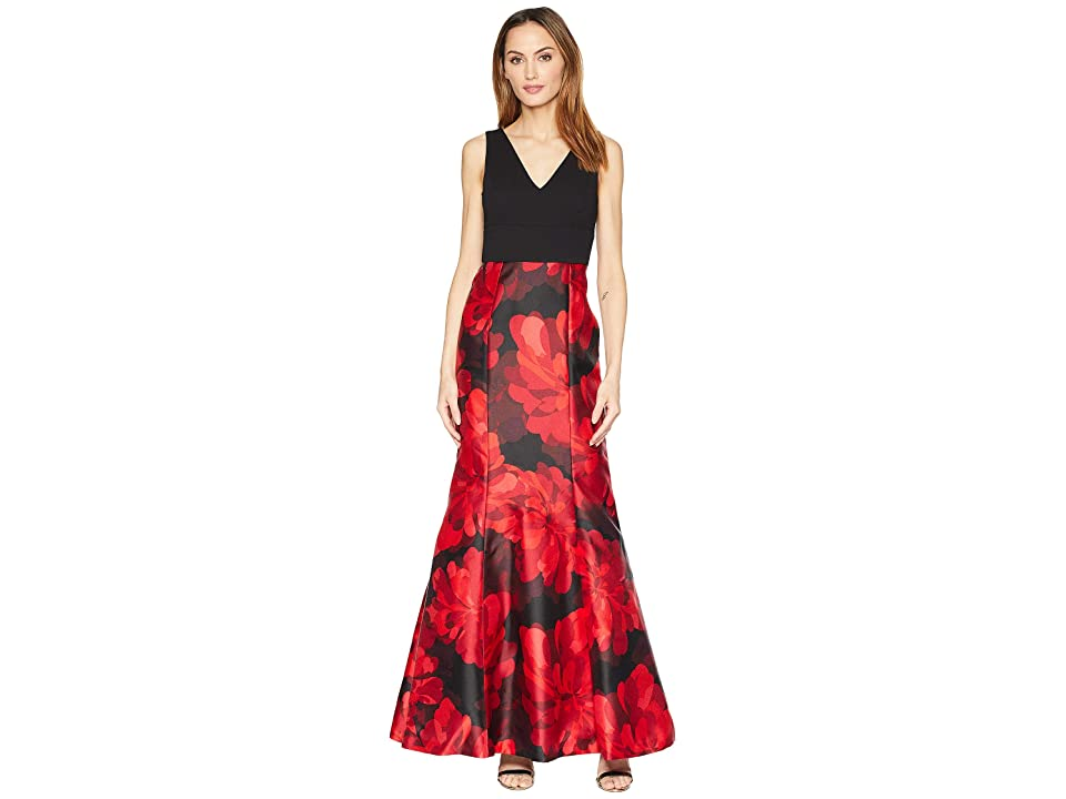 Calvin Klein Floral Print Bottom V-Neck Gown (Red Multi) Women