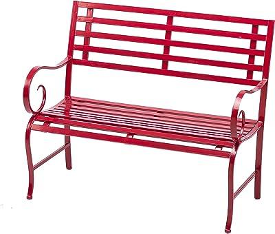 Cape Craftsmen Outdoor Safe Red Metal Garden Patio Bench