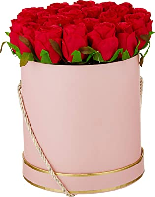 Fourwalls Artificial Rose Flowers in a Box for Valentines Day Gift (21 Flower in Box, 22 cm Tall, Pink and Red)