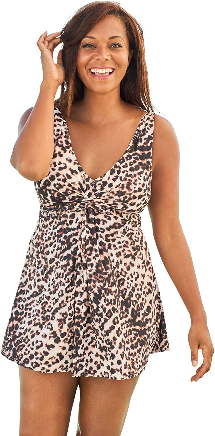 Swimsuits For All Women's Plus Size Twist-Front Swim Dress Swimsuit Cover Up
