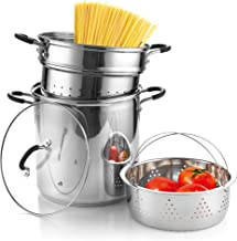 Cook N Home 4-Piece Stainless Steel Pasta Cooker Steamer Multipots, 12 Quart, Silver
