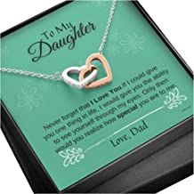 KINDPAW Father Daughter Necklace – Never Forget That I Love You Necklace from Dad