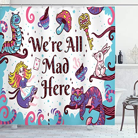 Ambesonne Alice In Wonderland Shower Curtain We Are All Mad Here Words With Caterpillar White Rabbit Cheshire Cat Cloth Fabric Bathroom Decor Set With Hooks 84 Long Extra Multicolor Home