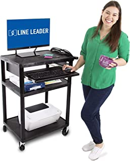Line Leader Plastic AV Cart with Keyboard Tray – Mobile Workstation with 4 Rolling Casters and 2 Locking Brakes– Heavy Duty, Holds up to 400 lbs– Perfect for Offices and Schools (Black / 24 x 18 x 34)