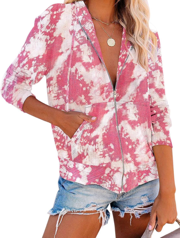 LookbookStore Women Tie Dye Knit Active Hoodie Long Sleeves Zip Up Sweatshirt Top