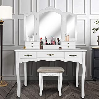ENSTVER Vanity Beauty Station,Large Tri-Folding Necklace Hooked Mirrors,6 Organization 7 Drawers Makeup Dress Table with C...