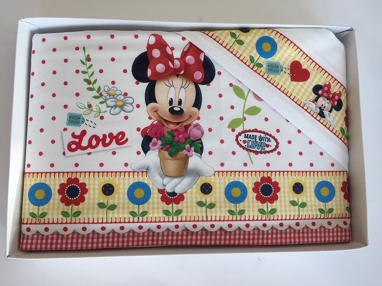 Juego de cama para cunas con estampado del personaje Minnie de Disney FUXIA BIANCO