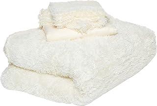 Comfy 2724284986697 Luxe Faux Fur 6pieces Soft Blanket Set, Size - King, White, W 63.0 x H 60.0 x L 17.0 cm