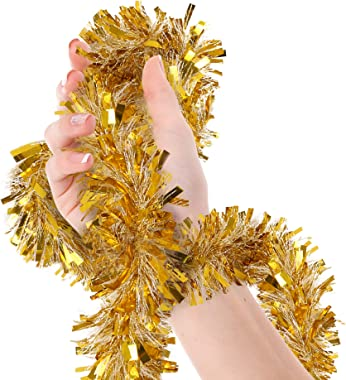 Treasures Gifted Christmas Tree Gold and White Tinsel Garland Polka Dot Shreds Metallic Streamers Celebrate a Holiday New Years Eve Happy Party Indoor and Outdoor Disco Party Decorations Supplies