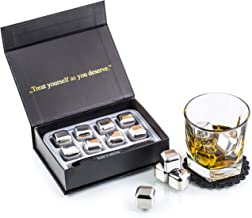 Exclusive Whiskey Stones Gift Set - High Cooling Technology - Reusable Ice Cubes - Stainless Steel Whiskey Ice Cubes - Whi...
