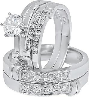 مجموعة خواتم زفاف مكونة من 3 قطع من الفضة الإسترلينية CZ مزينة باروك من مجموعة خواتم الزواج للنساء مقاس 9 + مقاس الرجال 12