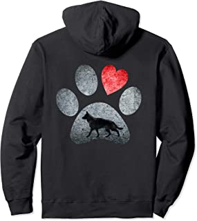 German Shepherd Paws Dog Lovers Red Heart Gift Pullover Hoodie