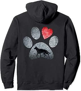 German Shepherd Paws Dog Lovers Red Heart Gift Hoodie
