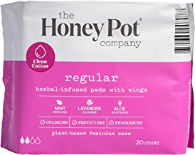The Honey Pot Feminine Pads with Wings, Regular Absorbency, Herbal All Natural, (20 Count)
