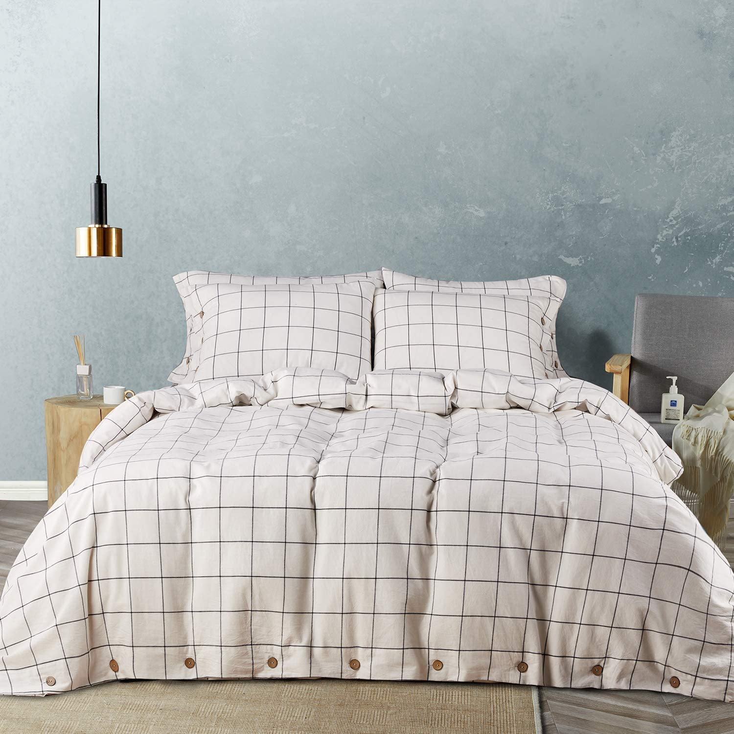 JELLYMONI White Large Grid 100% Washed San Francisco Mall Cotton 3 Duvet Cover Discount mail order Set