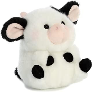 "Aurora World 16834 Rolly Pet Daisy Cow Plush, 5"", Black, White"