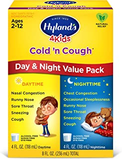 Hyland's Cold and Cough 4 Kids, Day and Night Value Pack, Cough Syrup Medicine for Kids, Decongestant, Sore Throat Relief, Natural Treatment for Common Cold Symptoms, 4 Fl Oz Each