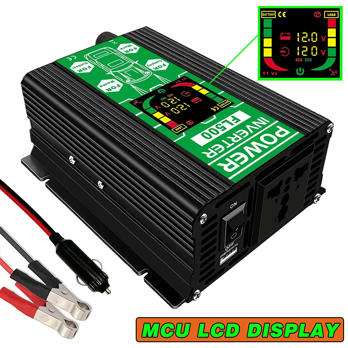 FULAI 300W Car Power Inverter, DC 12V to 110V AC Car Converter with LCD Display Screen and USB Port Charger Car Adapter