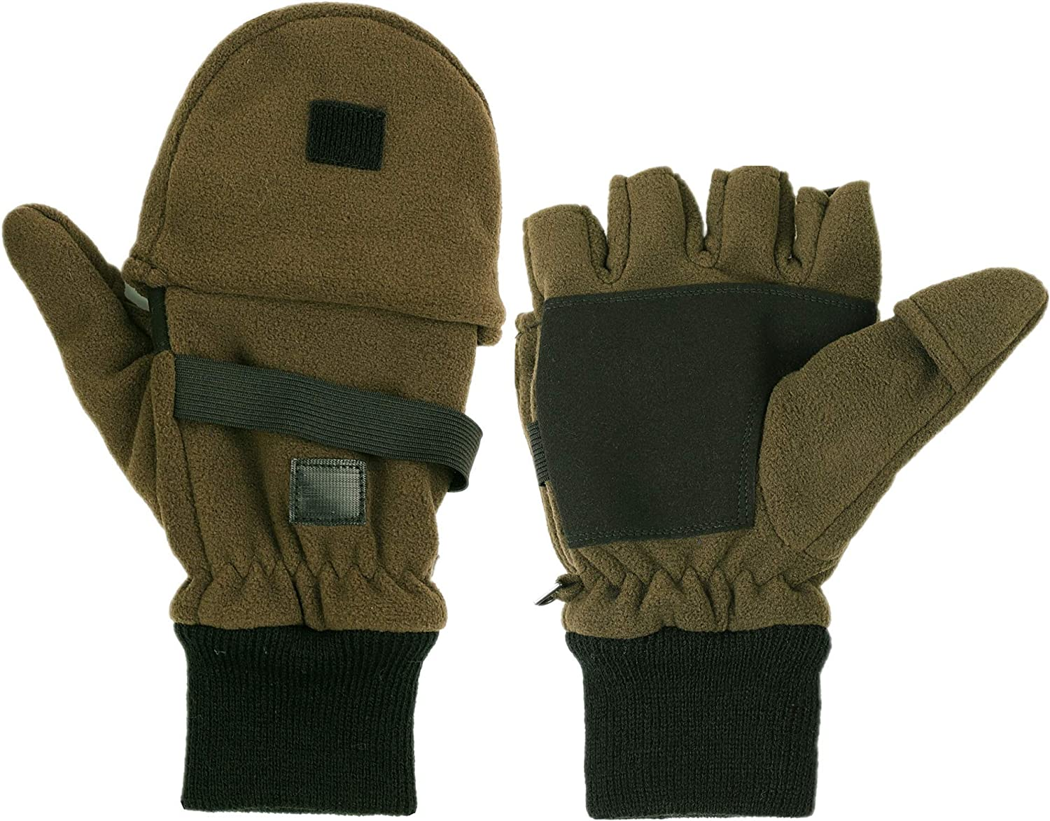 Mens 3M Thinsulate Fleece Mittens with Fingers Cold Weather Convertible Mittens Half Finger Thermal Gloves Winter