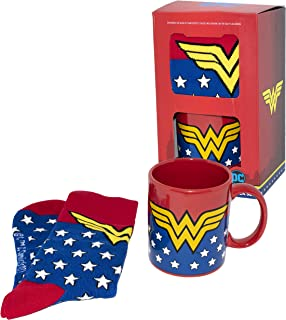 Wonder Woman Coffee Mug & Sock Set- Officially Licensed DC Comics Product