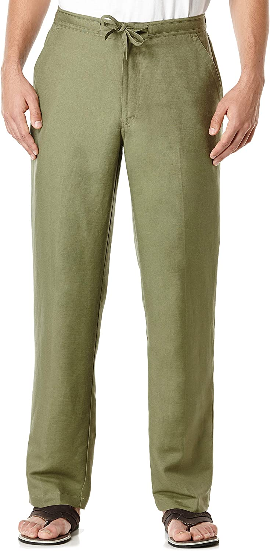 Cubavera Men's Drawstring Linen-Blend Popular overseas Pant Wai Back with Elastic 25% OFF