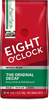 Eight O'Clock Whole Bean Coffee, The Original Decaf, 24 Ounce (Pack of 1)