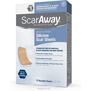 ScarAway Silicone Scar Sheets for Face, Body, Surgical, Burn, Hypertrophic Scars, Keloids and Acne Scar Treatment, 12 Reusable Sheets