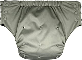 Adult Pull On Diaper with Tabs - Medium Reusable Incontinence Briefs for Women or Men (Regular,Grey)