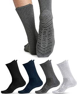 TruTread Grip Crew Socks for Women and Men - Non Slip and Non Skid Hospital, Yoga, Maternity, Pilates (4 Pairs)