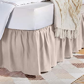 Amazon Com Levinsohn Bed Maker S Tailored Wrap Around Bedskirt Never Lift Your Mattress Classic 14 Drop Length Pleated Styling Queen Ivory Home Kitchen