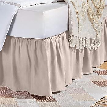 AmazonBasics Ruffled Bed Skirt - Twin, Blush Pink
