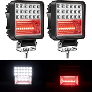 Yorkim Offroad 4x4 Led Fog Lights Red & White Combo with Flash Strobe, Offroad Led Pod Light Cube, Offroad Led Flood Lights, 4x4 Led Spot Lights For Truck Jeep SUV