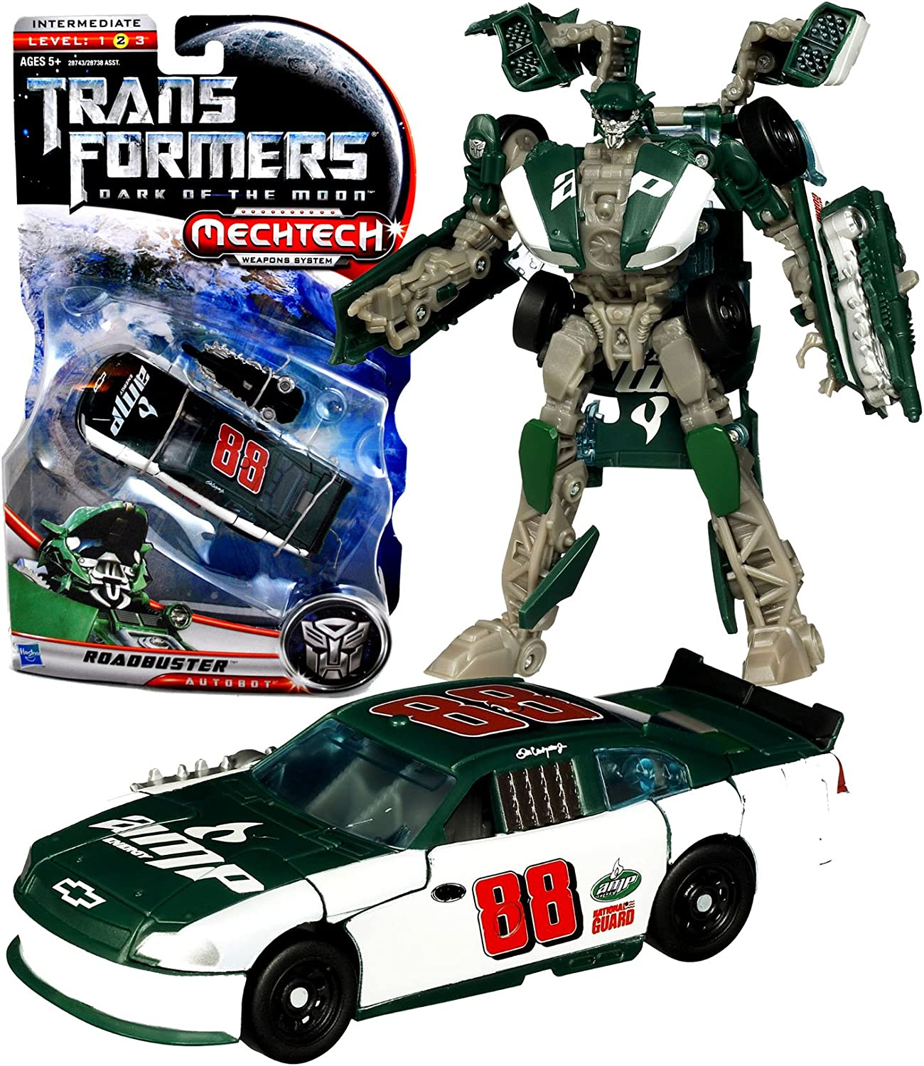 Hasbro Year 2010 Transformers Movie Series 3 Dark of the Moon Deluxe Class 6 Inch Tall Robot Action Figure with MechTech Weapon System - Autobot ROADBUSTER with Blaster that ConGrüns to Assault Saw (Vehicle Mode   88 Dale Earnhardt Jr. Track Race Car) by