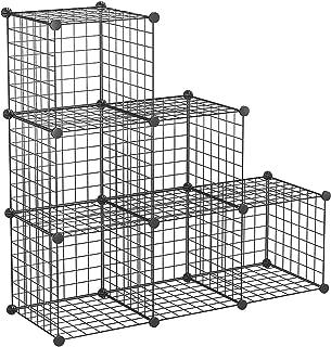 "C&AHOME Wire Storage Cube, Metal Grids Bookshelf, Modular Shelving Unit, Stackable Bookcase, 6 Cubes Closet Organizer for Home, Office, Kids Room, 42.5""L x 14.4""W x 42.5""H, Black"
