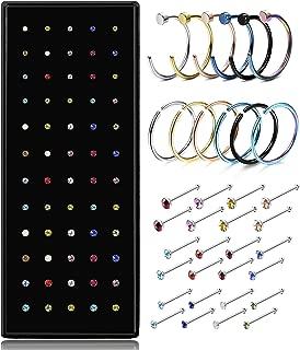 Stainless Steel Nose Rings Hoop Nose Stud CZ Piercing for Women Men Hoop Cartilage Tragus Ear Piercing Set