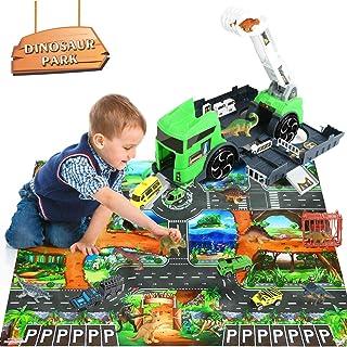 Dinosaur Toys Educational Realistic Dinosaur Play Set Includes Dinosaur Figures, Activity Kids Play Mat, Cars & Palm Tree...
